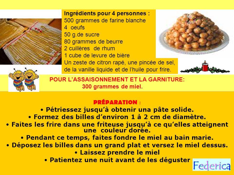 PRÉPARATION : Pétriessez jusquà obtenir una pâte solide. Formez des billes denviron 1 à 2 cm de diamètre. Faites les frire dans une friteuse jusquà ce