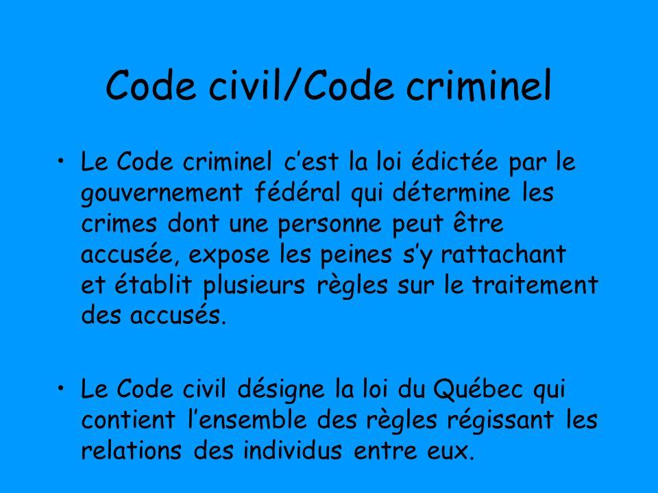 Code civil/Code criminel Le Code criminel cest la loi édictée par le gouvernement fédéral qui détermine les crimes dont une personne peut être accusée