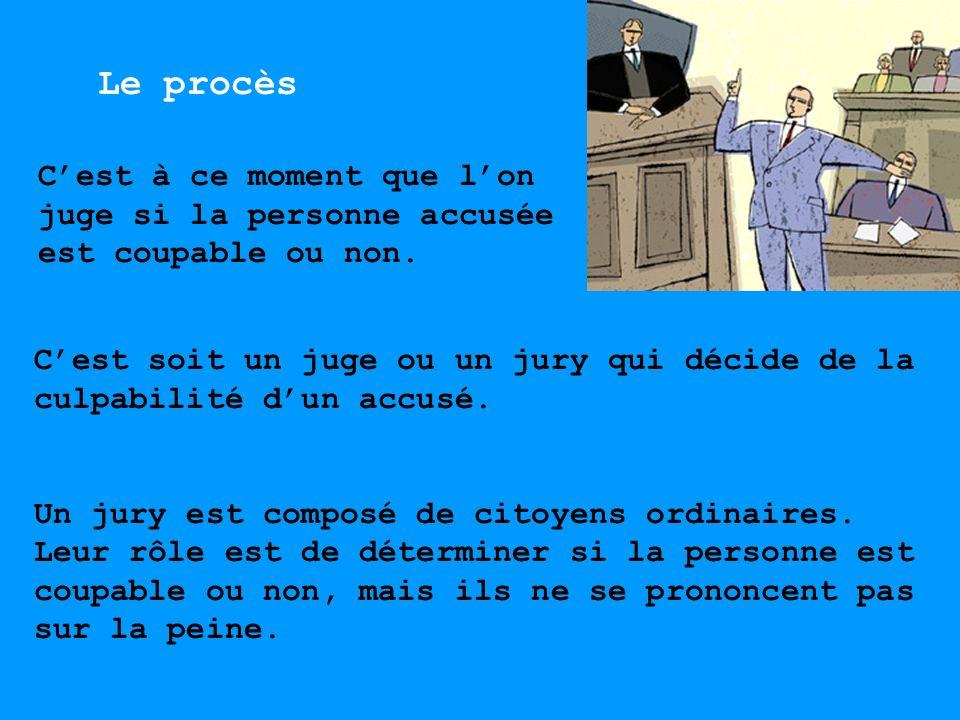 Cest soit un juge ou un jury qui décide de la culpabilité dun accusé. Un jury est composé de citoyens ordinaires. Leur rôle est de déterminer si la pe