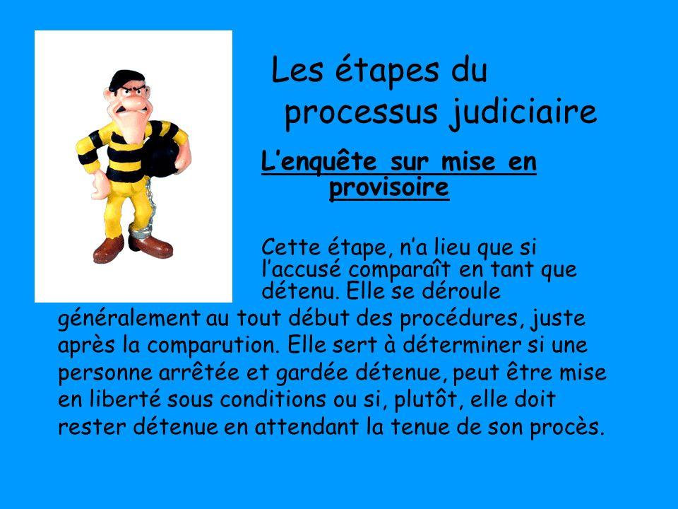 Les étapes du processus judiciaire Lenquête sur mise en liberté provisoire Cette étape, na lieu que si laccusé comparaît en tant que détenu. Elle se d