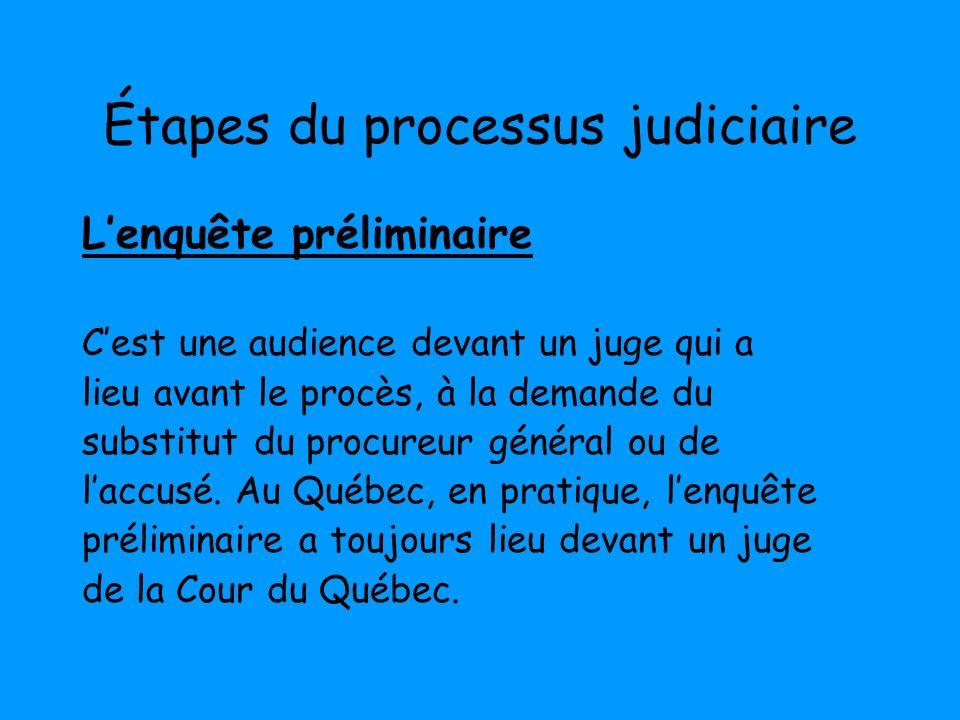 Étapes du processus judiciaire Lenquête préliminaire Cest une audience devant un juge qui a lieu avant le procès, à la demande du substitut du procure
