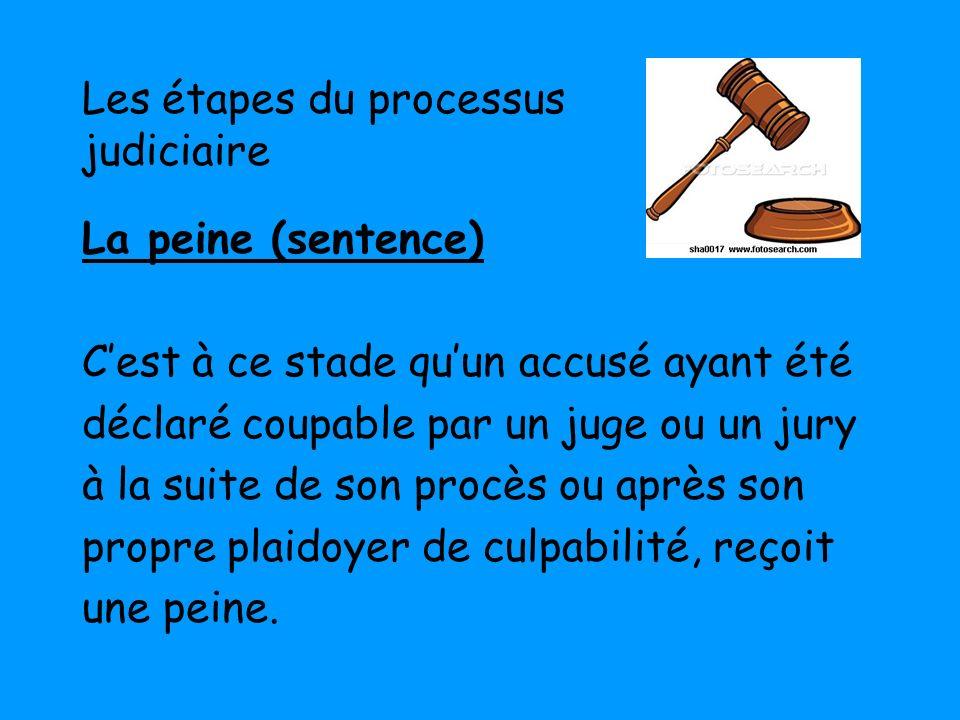 Les étapes du processus judiciaire La peine (sentence) Cest à ce stade quun accusé ayant été déclaré coupable par un juge ou un jury à la suite de son