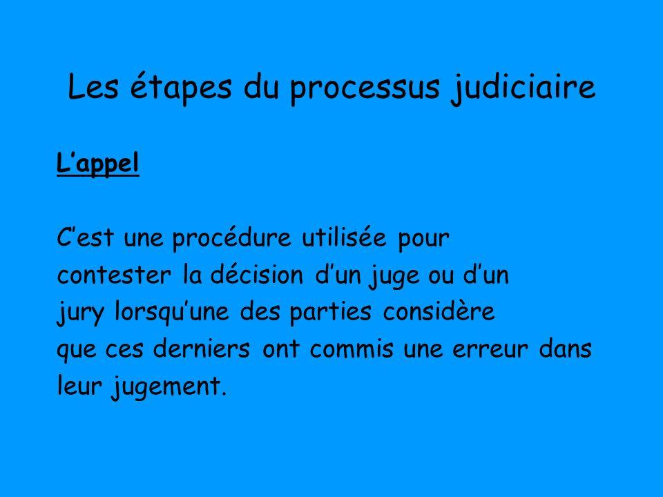 Les étapes du processus judiciaire Lappel Cest une procédure utilisée pour contester la décision dun juge ou dun jury lorsquune des parties considère