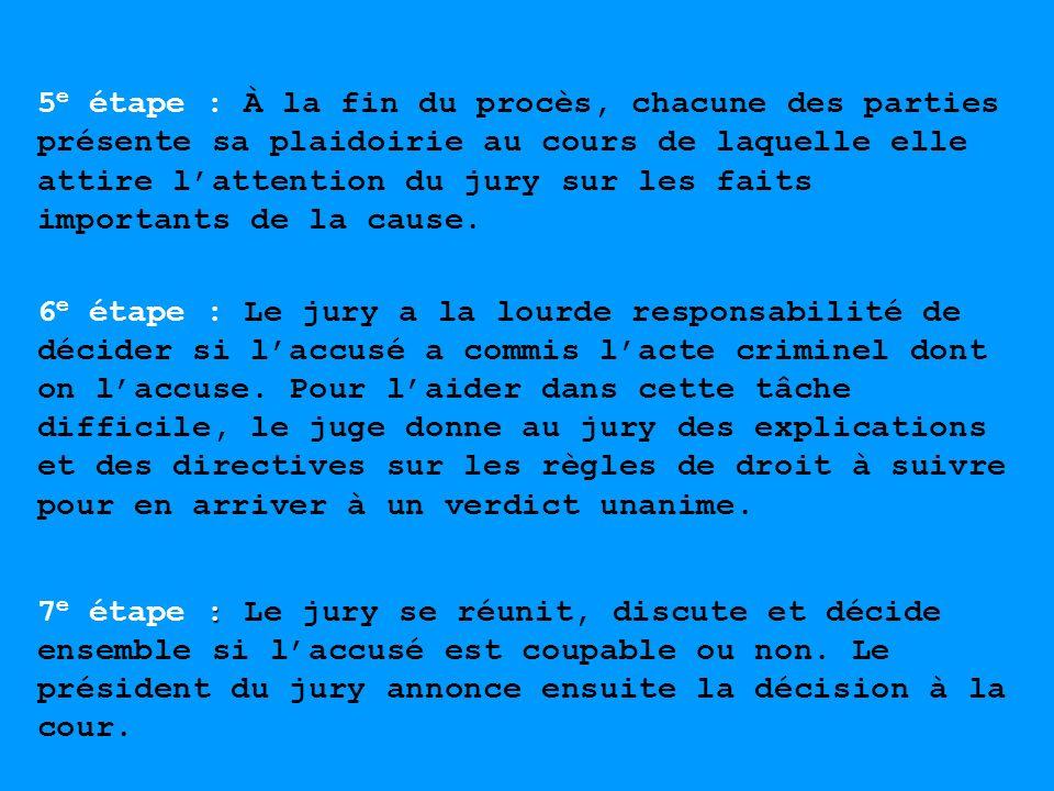 5 e étape : À la fin du procès, chacune des parties présente sa plaidoirie au cours de laquelle elle attire lattention du jury sur les faits important