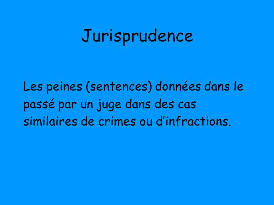 Jurisprudence Les peines (sentences) données dans le passé par un juge dans des cas similaires de crimes ou dinfractions.