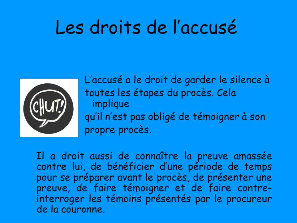 Les droits de laccusé Laccusé a le droit de garder le silence à toutes les étapes du procès. Cela implique quil nest pas obligé de témoigner à son pro