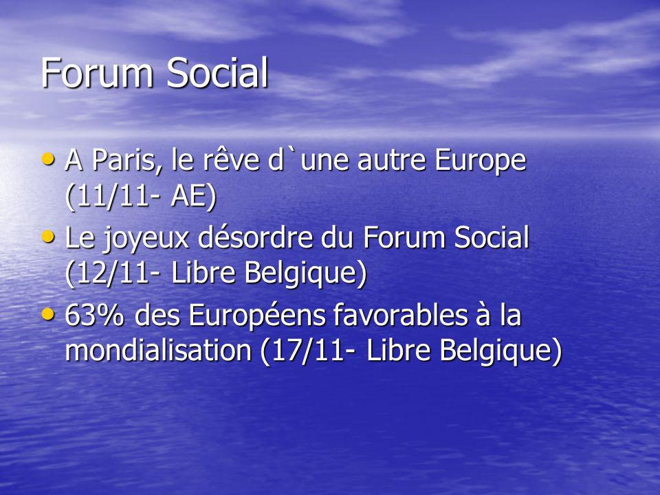 Forum Social A Paris, le rêve d`une autre Europe (11/11- AE) A Paris, le rêve d`une autre Europe (11/11- AE) Le joyeux désordre du Forum Social (12/11- Libre Belgique) Le joyeux désordre du Forum Social (12/11- Libre Belgique) 63% des Européens favorables à la mondialisation (17/11- Libre Belgique) 63% des Européens favorables à la mondialisation (17/11- Libre Belgique)