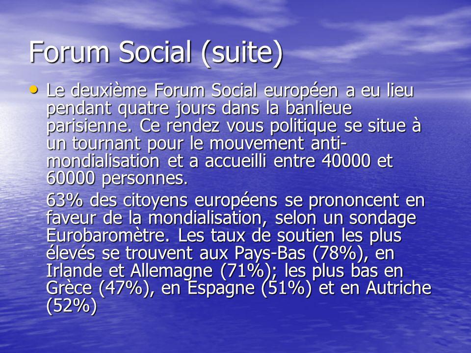 Forum Social (suite) Le deuxième Forum Social européen a eu lieu pendant quatre jours dans la banlieue parisienne.