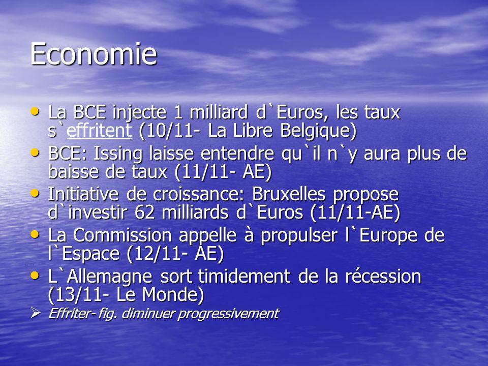 Economie (Suite) Déficits: Bruxelles poursuit la procédure contre l`Allemagne (13 /11- AE) Déficits: Bruxelles poursuit la procédure contre l`Allemagne (13 /11- AE) La zone euro renoue avec une croissance modérée (14 /11- AE) La zone euro renoue avec une croissance modérée (14 /11- AE) Zone Euro: La production industrielle a reculé de 1.8% sur un an (17 /11- AE) Zone Euro: La production industrielle a reculé de 1.8% sur un an (17 /11- AE) Déficit budgétaire: pas de traitement de faveur pour l`Allemagne (17 /11- AE) Déficit budgétaire: pas de traitement de faveur pour l`Allemagne (17 /11- AE) La hausse des prix limitée à 2% dans la zone euro en Octobre (18 /11- AE) La hausse des prix limitée à 2% dans la zone euro en Octobre (18 /11- AE) Bruxelles demande à Berlin de réduire des dépenses publiques en 2004 (19 /11- Le Monde) Bruxelles demande à Berlin de réduire des dépenses publiques en 2004 (19 /11- Le Monde) Renouer- fig.