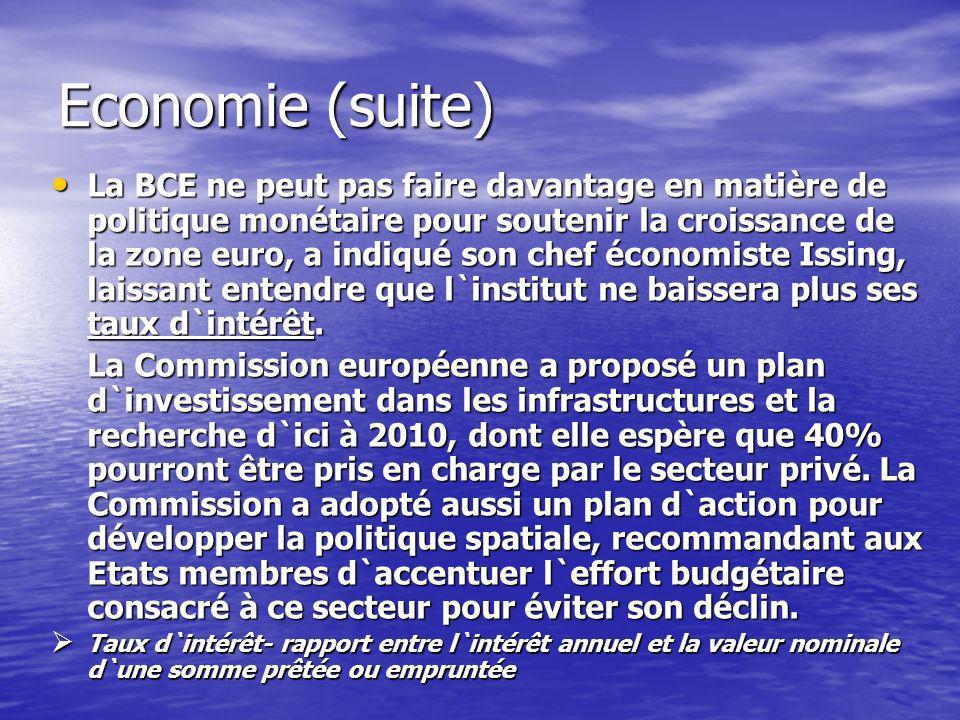Economie (suite) La BCE ne peut pas faire davantage en matière de politique monétaire pour soutenir la croissance de la zone euro, a indiqué son chef économiste Issing, laissant entendre que l`institut ne baissera plus ses taux d`intérêt.