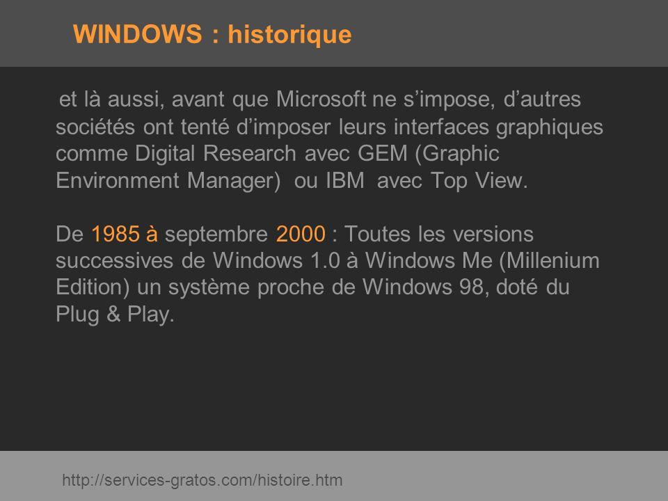 WINDOWS : historique et là aussi, avant que Microsoft ne simpose, dautres sociétés ont tenté dimposer leurs interfaces graphiques comme Digital Resear