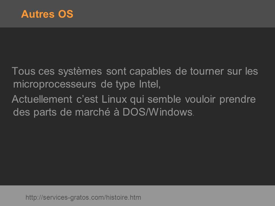 Autres OS Tous ces systèmes sont capables de tourner sur les microprocesseurs de type Intel, Actuellement cest Linux qui semble vouloir prendre des pa