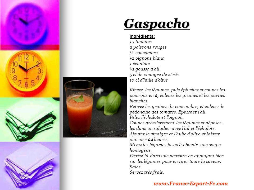 Gaspacho Ingrédients: 10 tomates 2 poivrons rouges ½ concombre ½ oignons blanc 1 échalote ½ gousse dail 5 cl de vinaigre de xérès 10 cl dhuile dolive Rincez les légumes, puis épluchez et coupez les poivrons en 2, enlevez les graines et les parties blanches.