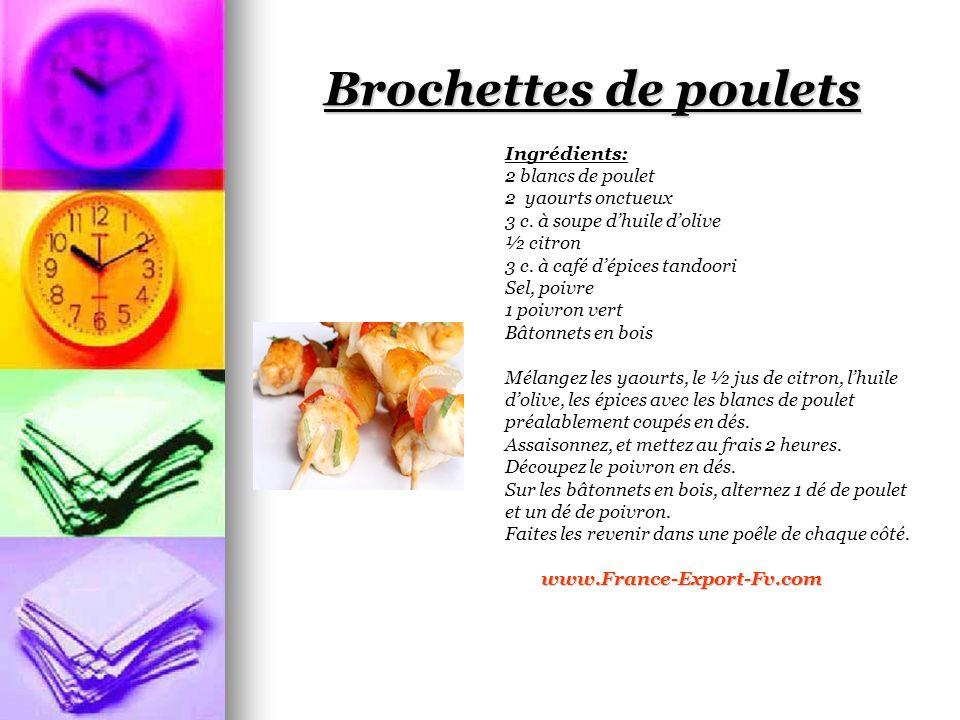 Brochettes de poulets Ingrédients: 2 blancs de poulet 2 yaourts onctueux 3 c.