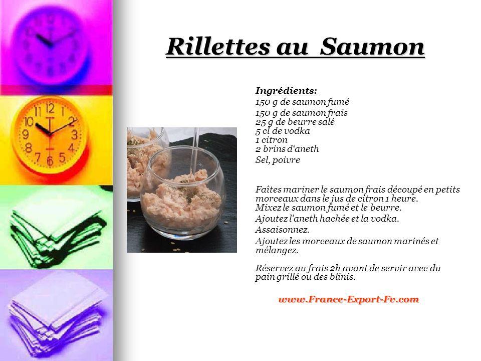 Rillettes au Saumon Ingrédients: 150 g de saumon fumé 150 g de saumon frais 25 g de beurre salé 5 cl de vodka 1 citron 2 brins daneth Sel, poivre Faîtes mariner le saumon frais découpé en petits morceaux dans le jus de citron 1 heure.