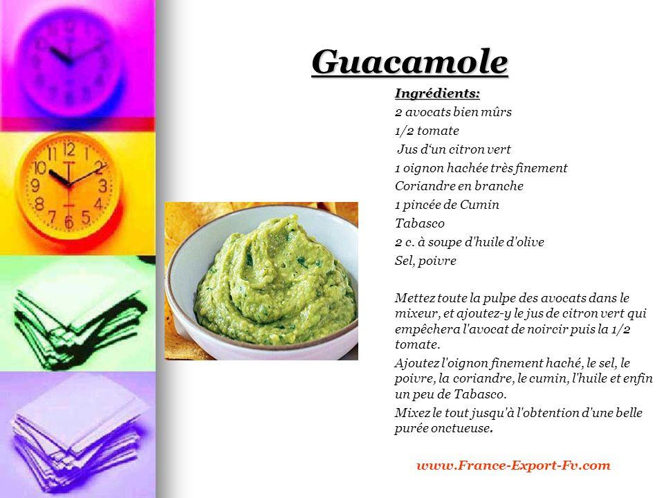 Guacamole Ingrédients: 2 avocats bien mûrs 1/2 tomate Jus dun citron vert 1 oignon hachée très finement Coriandre en branche 1 pincée de Cumin Tabasco 2 c.