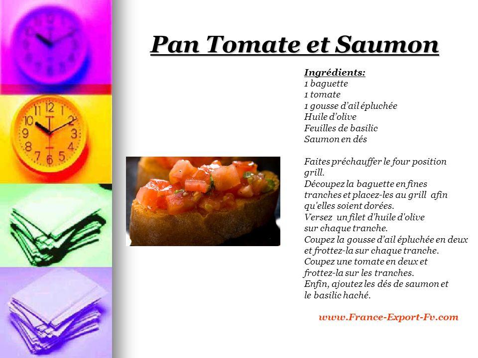 Pan Tomate et Saumon Ingrédients: 1 baguette 1 tomate 1 gousse dail épluchée Huile dolive Feuilles de basilic Saumon en dés Faites préchauffer le four position grill.