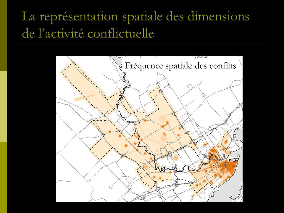 La représentation spatiale des dimensions de lactivité conflictuelle Fréquence spatiale des conflits