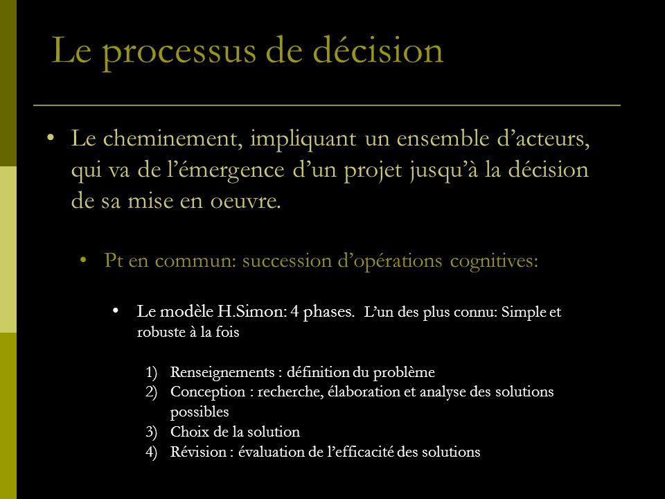 Le processus de décision Le cheminement, impliquant un ensemble dacteurs, qui va de lémergence dun projet jusquà la décision de sa mise en oeuvre.