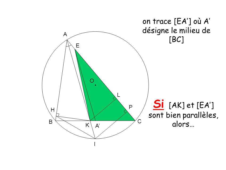 O A K B C L H I P E A on trace [EA] où A désigne le milieu de [BC] Si [AK] et [EA] sont bien parallèles, alors…