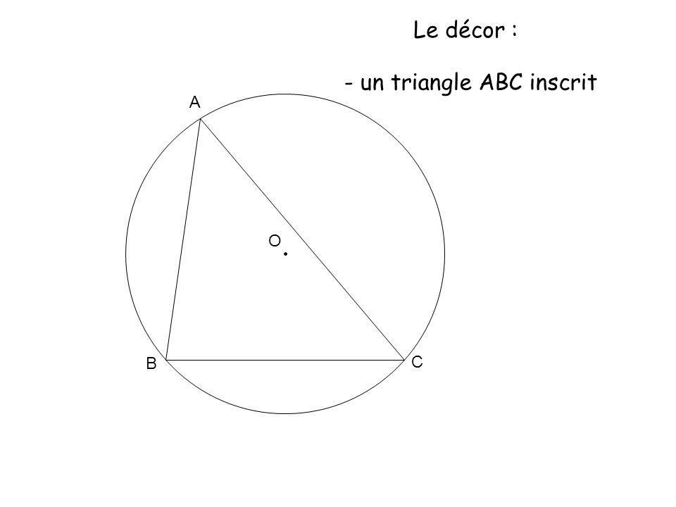 O A B C Le décor : - un triangle ABC inscrit