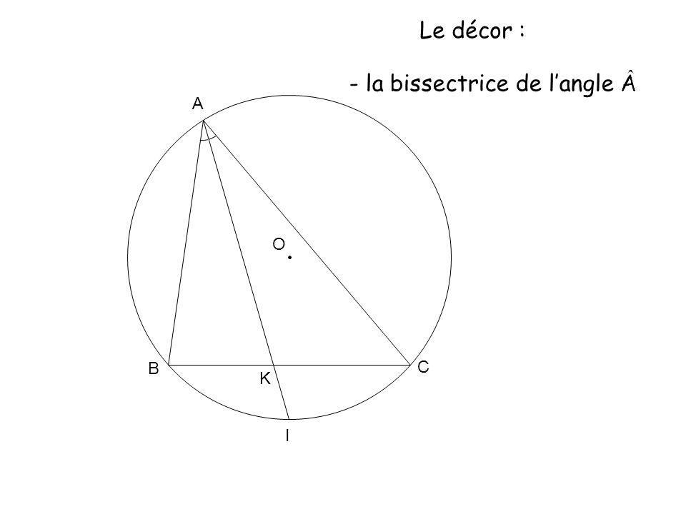 O A K B C I Le décor : - la bissectrice de langle