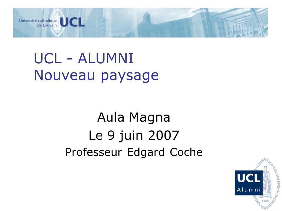 UCL - ALUMNI Nouveau paysage Aula Magna Le 9 juin 2007 Professeur Edgard Coche