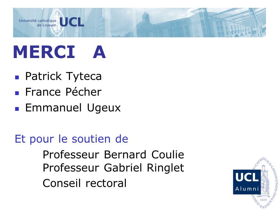 MERCI A Patrick Tyteca France Pécher Emmanuel Ugeux Et pour le soutien de Professeur Bernard Coulie Professeur Gabriel Ringlet Conseil rectoral