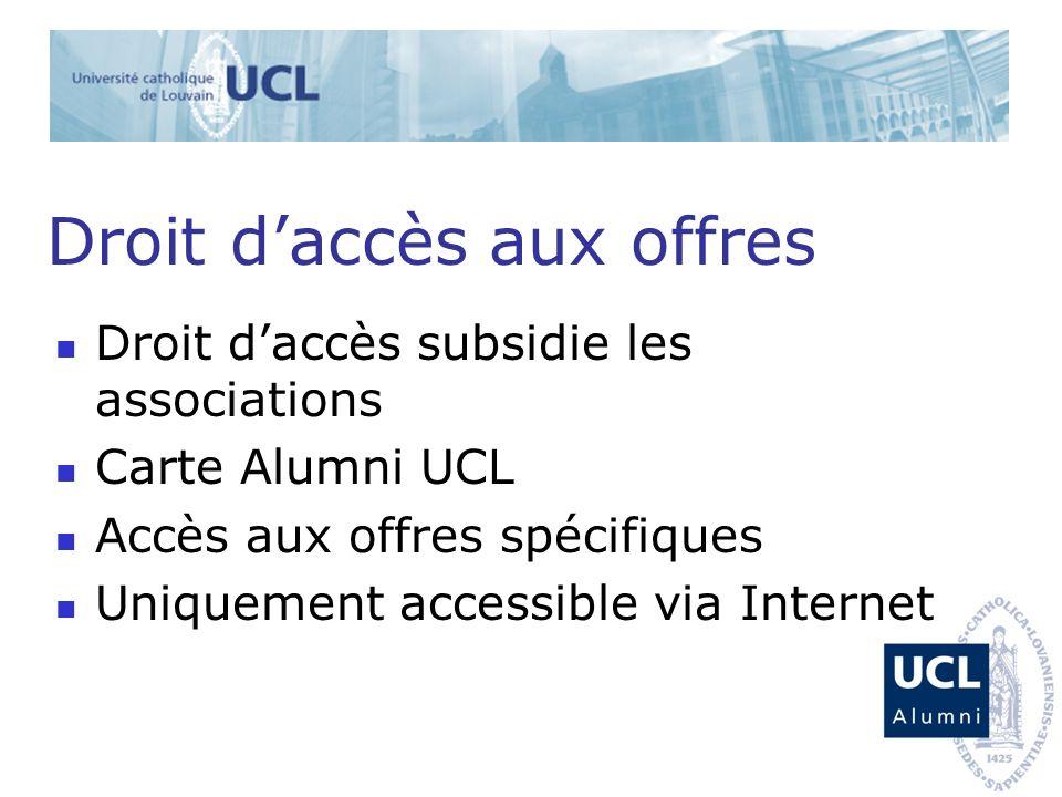 Droit daccès aux offres Droit daccès subsidie les associations Carte Alumni UCL Accès aux offres spécifiques Uniquement accessible via Internet