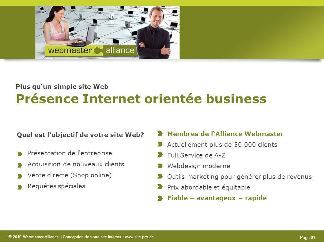 © 2010 Webmaster-Alliance   Conception de votre site internet : www.site-pro.ch Page 12 Nous créons votre site Web orienté business à un prix forfaitaire attractif.