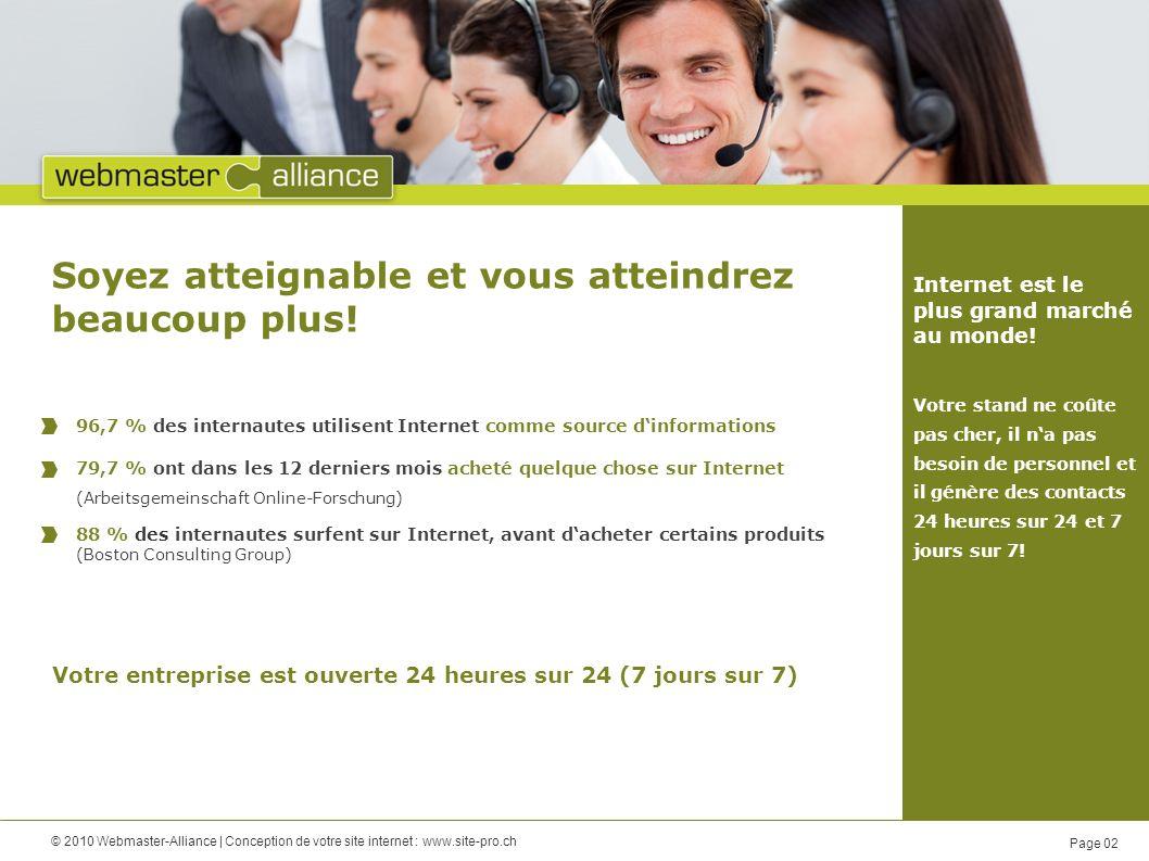 © 2010 Webmaster-Alliance   Conception de votre site internet : www.site-pro.ch Page 03 Plus de revenus et de bénéfices avec un site Web orienté business: 50 % des entreprises ne travaille pas correctement.