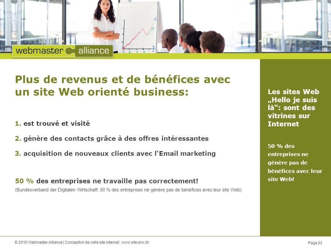 © 2010 Webmaster-Alliance | Conception de votre site internet : www.site-pro.ch Page 03 Plus de revenus et de bénéfices avec un site Web orienté business: 50 % des entreprises ne travaille pas correctement.