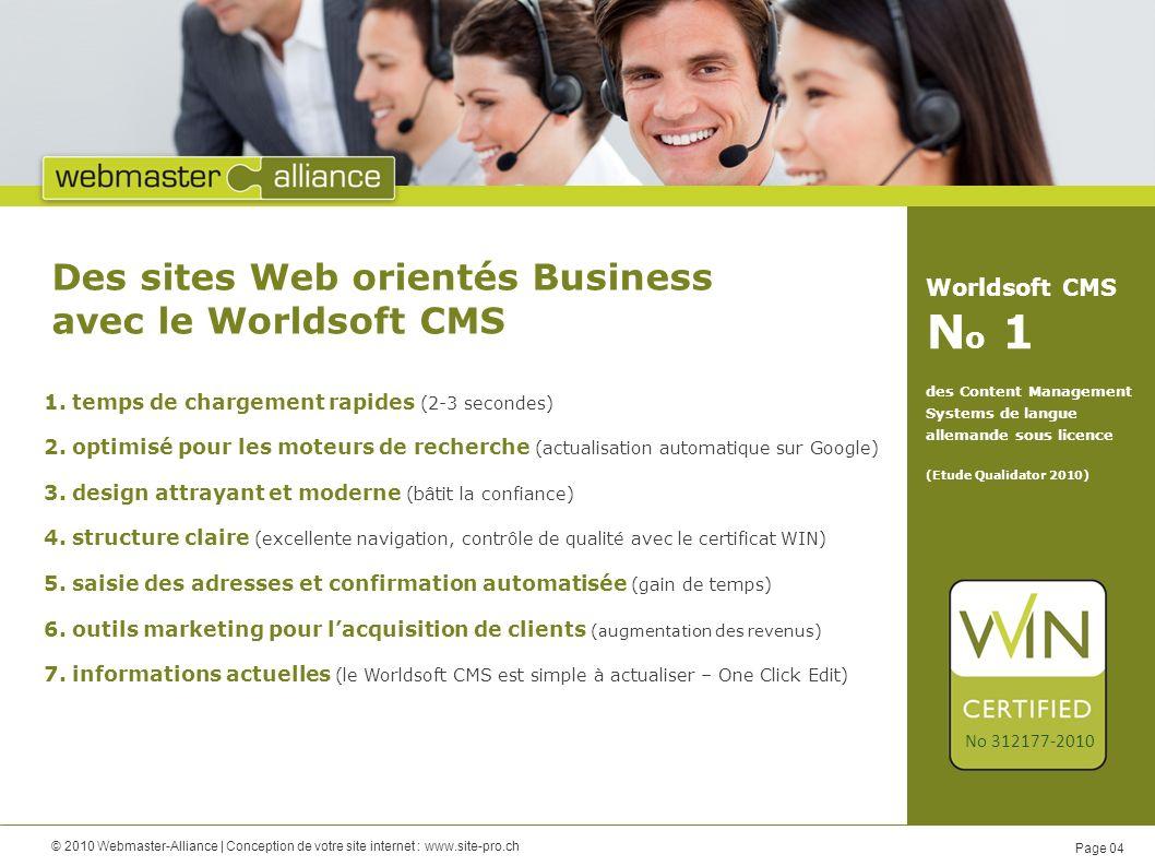 © 2010 Webmaster-Alliance   Conception de votre site internet : www.site-pro.ch Page 05 Connectez-vous à votre site Web… vous pouvez faire les modifications vous-même vous avez accès à votre site Web de nimporte où dans le monde!