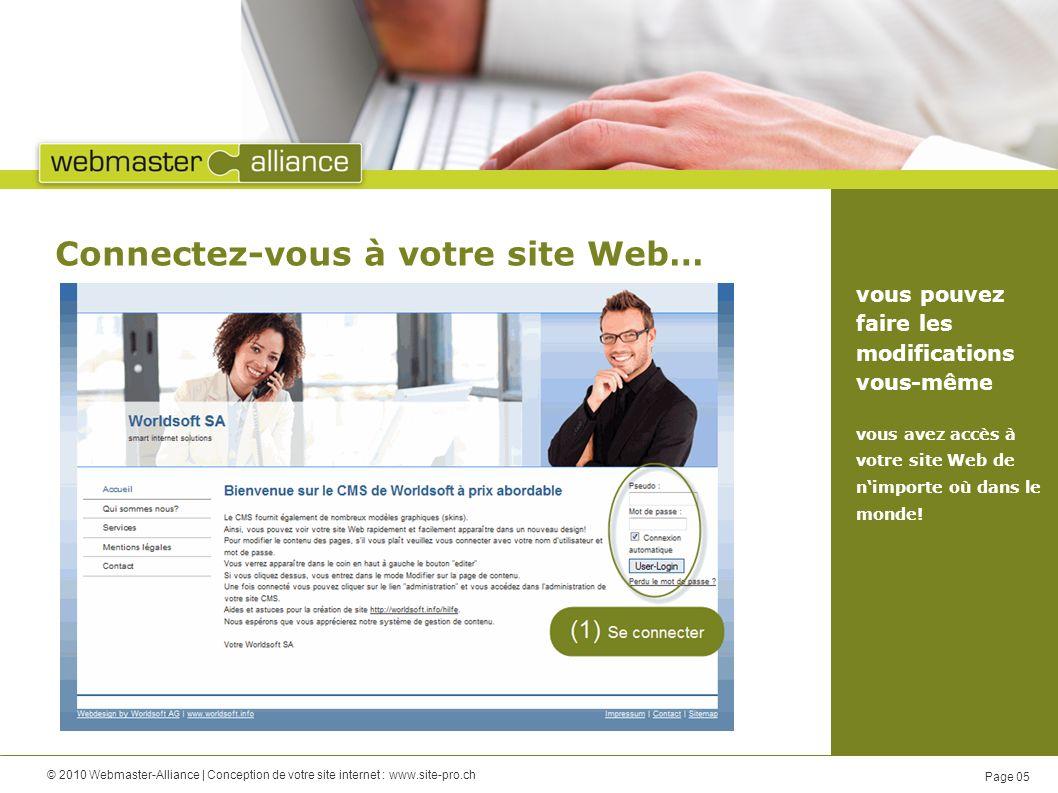 © 2010 Webmaster-Alliance | Conception de votre site internet : www.site-pro.ch Page 05 Connectez-vous à votre site Web… vous pouvez faire les modifications vous-même vous avez accès à votre site Web de nimporte où dans le monde!