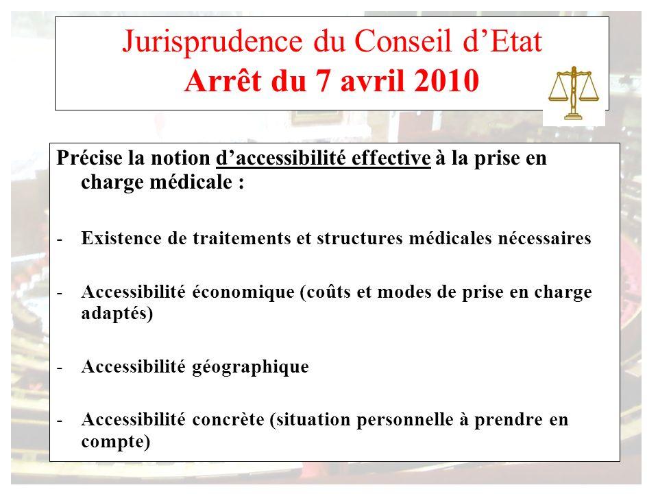Jurisprudence du Conseil dEtat Arrêt du 7 avril 2010 Précise la notion daccessibilité effective à la prise en charge médicale : -Existence de traiteme