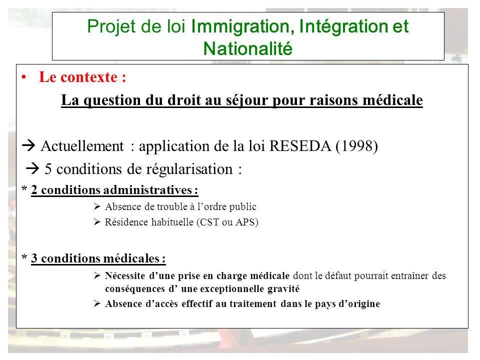 Projet de loi Immigration, Intégration et Nationalité Le contexte : La question du droit au séjour pour raisons médicale Actuellement : application de