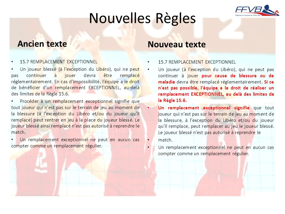 Nouvelles Règles Ancien texte 15.7 REMPLACEMENT EXCEPTIONNEL Un joueur blessé (à lexception du Libéro), qui ne peut pas continuer à jouer devra être r