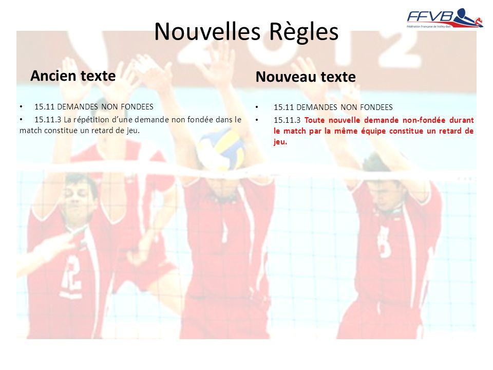 Nouvelles Règles Ancien texte 15.11 DEMANDES NON FONDEES 15.11.3 La répétition dune demande non fondée dans le match constitue un retard de jeu. Nouve