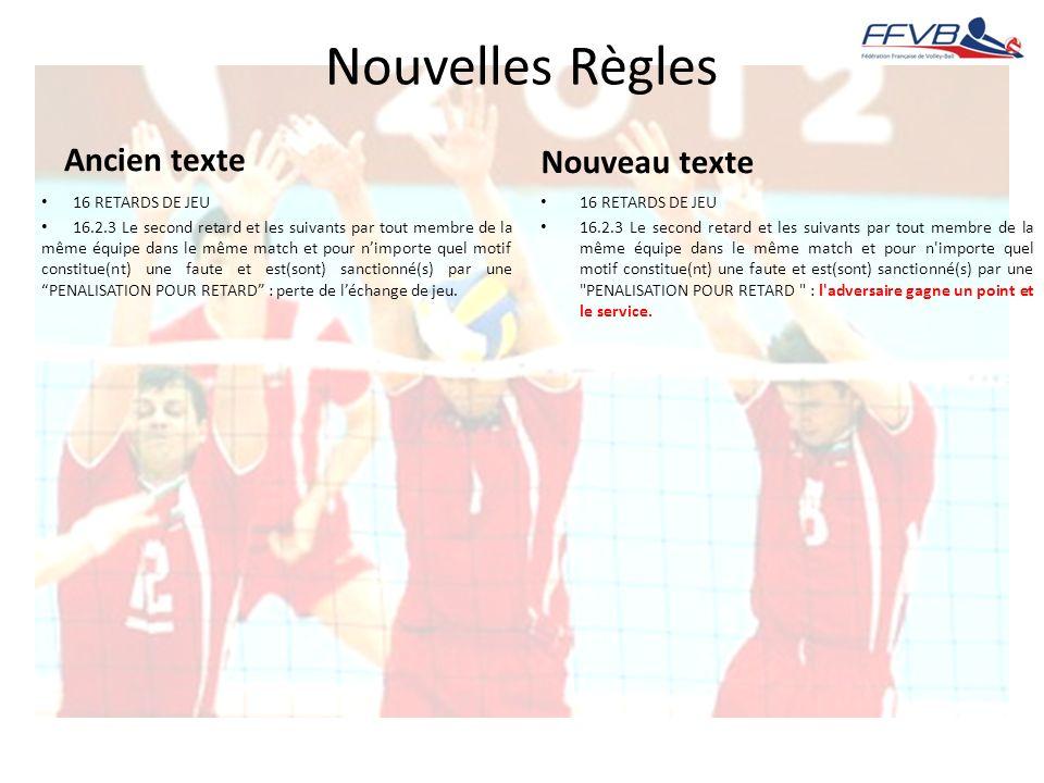 Nouvelles Règles Ancien texte 16 RETARDS DE JEU 16.2.3 Le second retard et les suivants par tout membre de la même équipe dans le même match et pour n