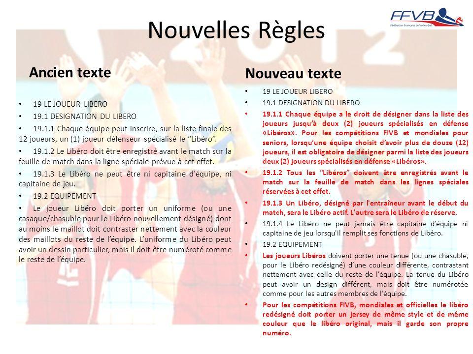 Nouvelles Règles Ancien texte 19 LE JOUEUR LIBERO 19.1 DESIGNATION DU LIBERO 19.1.1 Chaque équipe peut inscrire, sur la liste finale des 12 joueurs, u