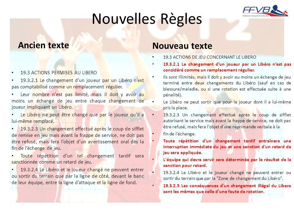 Nouvelles Règles Ancien texte 19.3 ACTIONS PERMISES AU LIBERO 19.3.2.1 Le changement dun joueur par un Libéro nest pas comptabilisé comme un remplacem