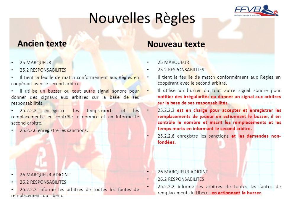 Nouvelles Règles Ancien texte 25 MARQUEUR 25.2 RESPONSABILITES Il tient la feuille de match conformément aux Règles en coopérant avec le second arbitr