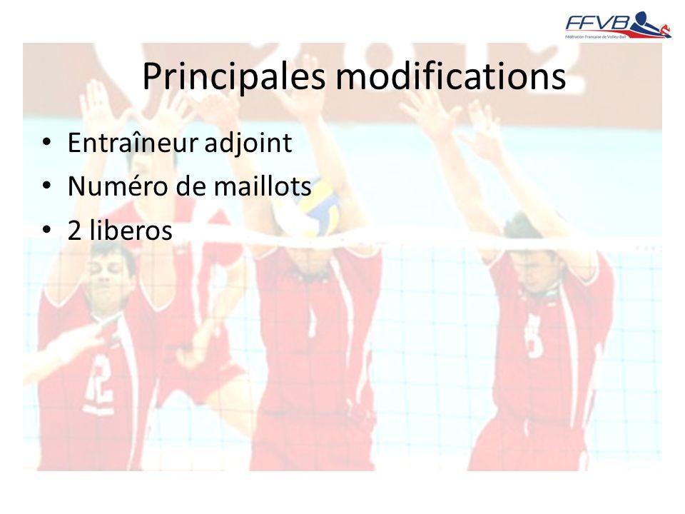 Entraîneur adjoint Numéro de maillots 2 liberos Principales modifications