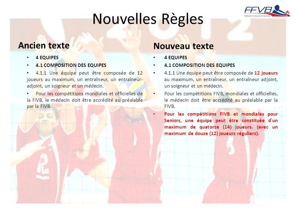 Nouvelles Règles Ancien texte 4 EQUIPES 4.1 COMPOSITION DES EQUIPES 4.1.1 Une équipe peut être composée de 12 joueurs au maximum, un entraîneur, un en