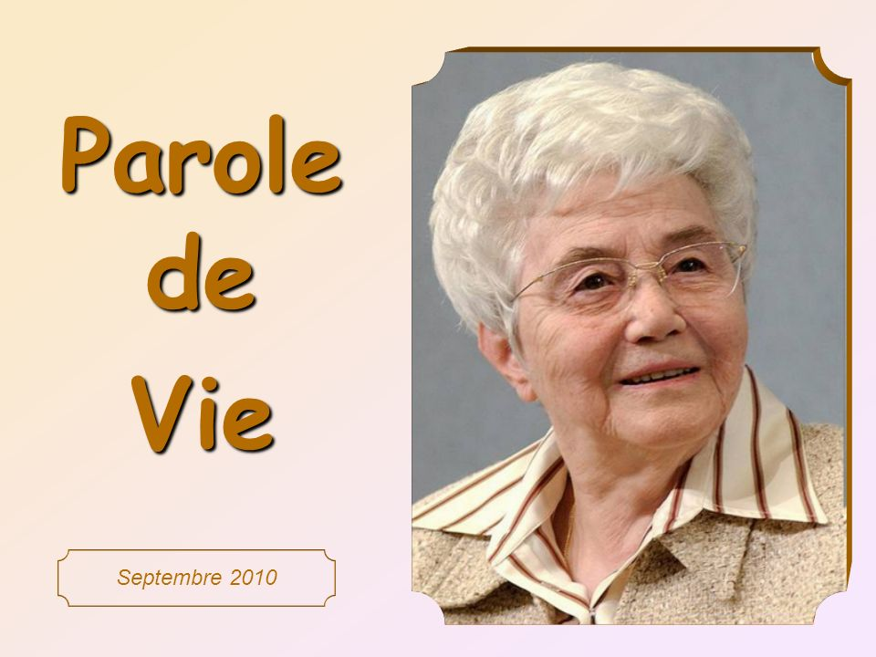 Parole de Vie Septembre 2010