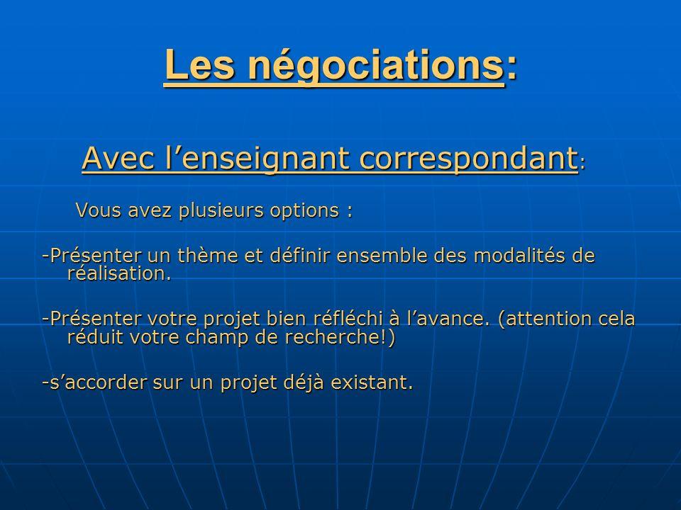 Les négociations: Avec lenseignant correspondant : Avec lenseignant correspondant : Vous avez plusieurs options : -Présenter un thème et définir ensemble des modalités de réalisation.