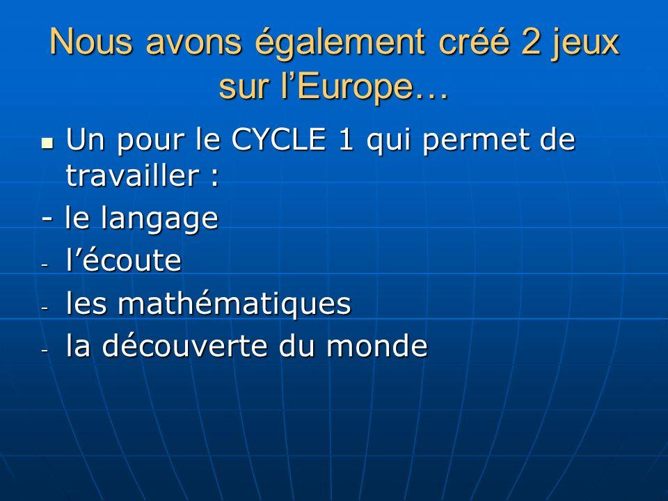 Nous avons également créé 2 jeux sur lEurope… Un pour le CYCLE 1 qui permet de travailler : Un pour le CYCLE 1 qui permet de travailler : - le langage - lécoute - les mathématiques - la découverte du monde
