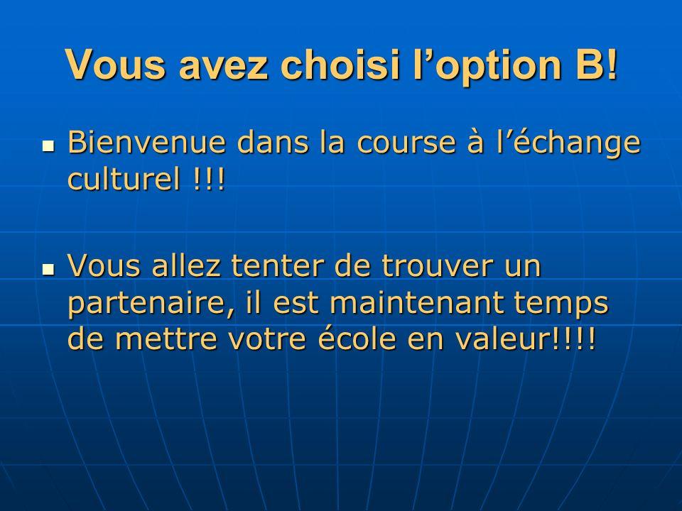 Vous avez choisi loption B. Bienvenue dans la course à léchange culturel !!.