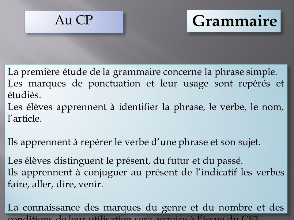 Au CP Grammaire La première étude de la grammaire concerne la phrase simple. Les marques de ponctuation et leur usage sont repérés et étudiés. Les élè