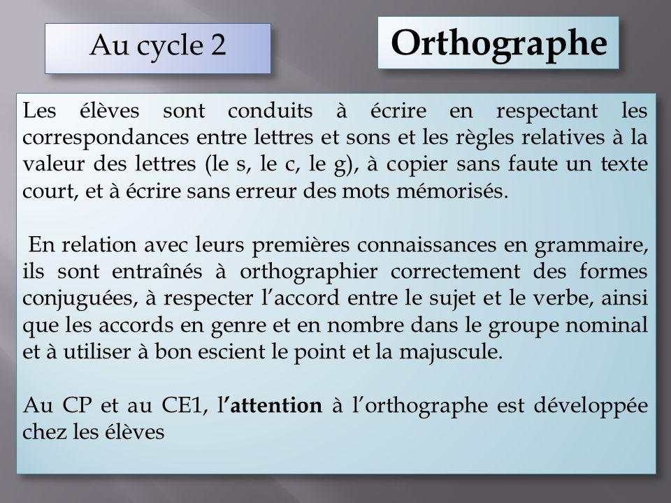 Au cycle 2 Orthographe Les élèves sont conduits à écrire en respectant les correspondances entre lettres et sons et les règles relatives à la valeur d